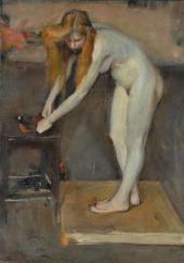 Н.П. Ульянов. Обнаженная натурщица. В мастерской В.А. Серова. 1902