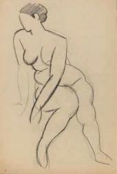 Р.Р. Фальк. Сидящая обнаженная. 1914