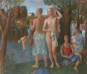 Л.Н. Кириллова. На реке. После работы. 1985