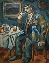 А.А.МОРГУНОВ. Мужской портрет (Чаепитие). Начало 1910-х