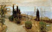 И.И.ЛЕВИТАН. Садик в Ялте. Кипарисы. 1886