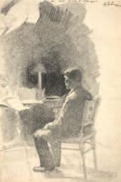 За этюдом. 1884. Лист из альбома