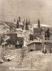 Поселок. Литография с тоном. Журнал «Россия» (М., 1884)