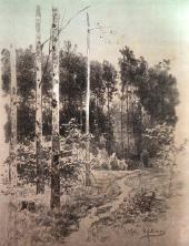 Лесная тропинка. Литография с тоном. Журнал «Россия» (М., 1884)