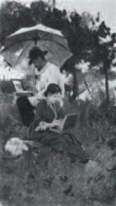 А.С.СТЕПАНОВ И.И.Левитан и С.П.Кувшинникова на этюдах. 1887