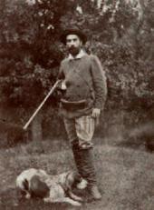 И.И.Левитан со своей собакой Вестой на охоте Фотография. До 1893