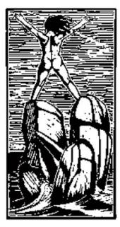 ДЕВУШКА, СТОЯЩАЯ НА СКАЛАХ В МОРЕ. 1935. ГРАВЮРА НА ДЕРЕВЕ.