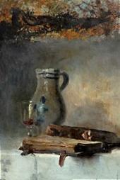 Кувшин, бокал и книги. 1880-е.