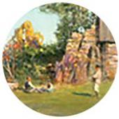 На краю села. Ранняя осень. 1900-е. Фрагмент. Собрание О.Л. Маргания, Москва