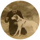 И.П. Похитонов с собакой (пойнтер Кроткий). Фото. 1911