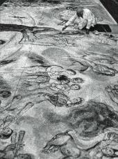 Марк Шагал за работой над панно «Истоки музыки». Париж, 1965– 1966