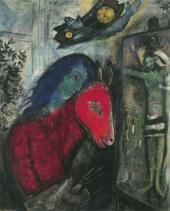 Марк Шагал. Автопортрет с часами. 1947