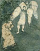 Марк Шагал. Авраам склоняется перед тремя ангелами. 1931