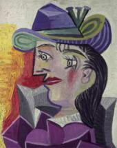 абло ПИКАССО. Женщина в синей шляпе и розово-лиловом платье. 17 марта 1938
