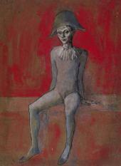Пабло ПИКАССО. Сидящий арлекин на красном фоне. 1905