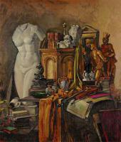 Натюрморт в золотых тонах с атрибутами искусства. 1943
