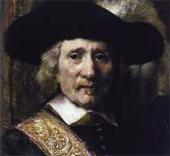 РЕМБРАНДТ. Харменс ван Рейн. Знаменосец. (Флорис Сооп). 1654. Фрагмент