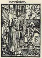 Священник. Из серии «Пляски смерти». Гравюра на дереве